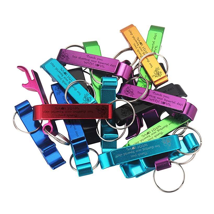 Personalized Wedding Party Favors Bottle Openers Keychain Wedding Gift, Multi Color, Pack of 50 with Organza Bags (?Thank you for Sharing our special day!WITH L?VE, 20)