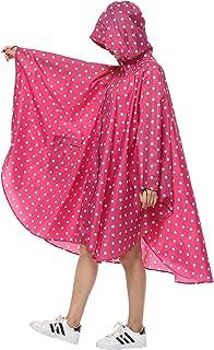 Freesmily Women's Stylish Rain Poncho Waterproof Rain Coat with Hood