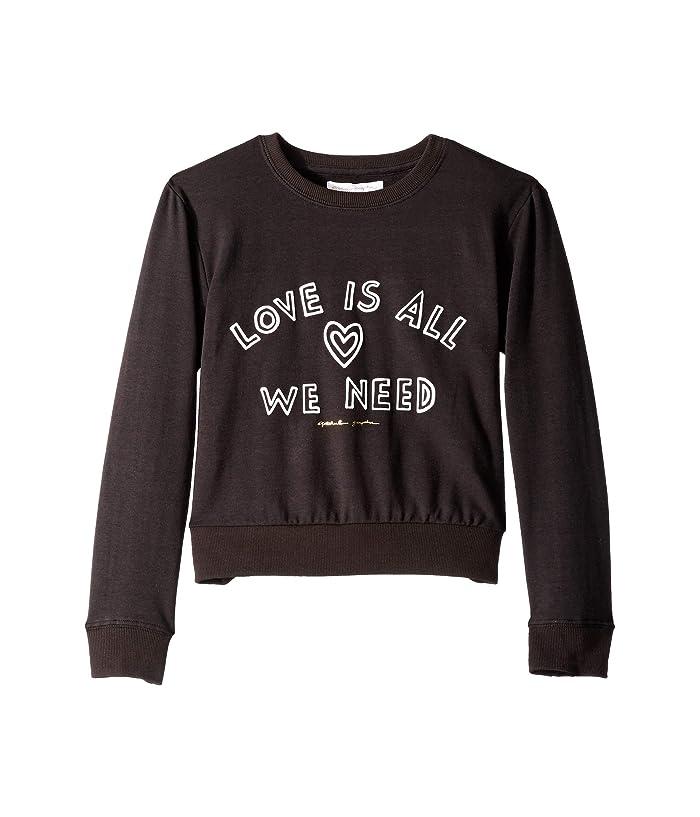Spiritual Gangster Kids Love All Classic Crew Neck (Toddler/Little Kids/Big Kids) (Vintage Black) Girl's Sweater