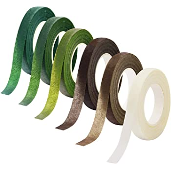 Livder 6 Colors Floral Tapes Flower Adhesives Stem Wrap Tape (Dark Green, Green, Grass Green, White, Brown, Light Brown)