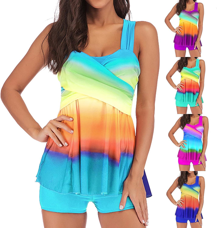 Tankini Swimsuit for Women Two Piece Beachwear Padded Swimwear Plus Size High Waisted Tummy Control Swimwear