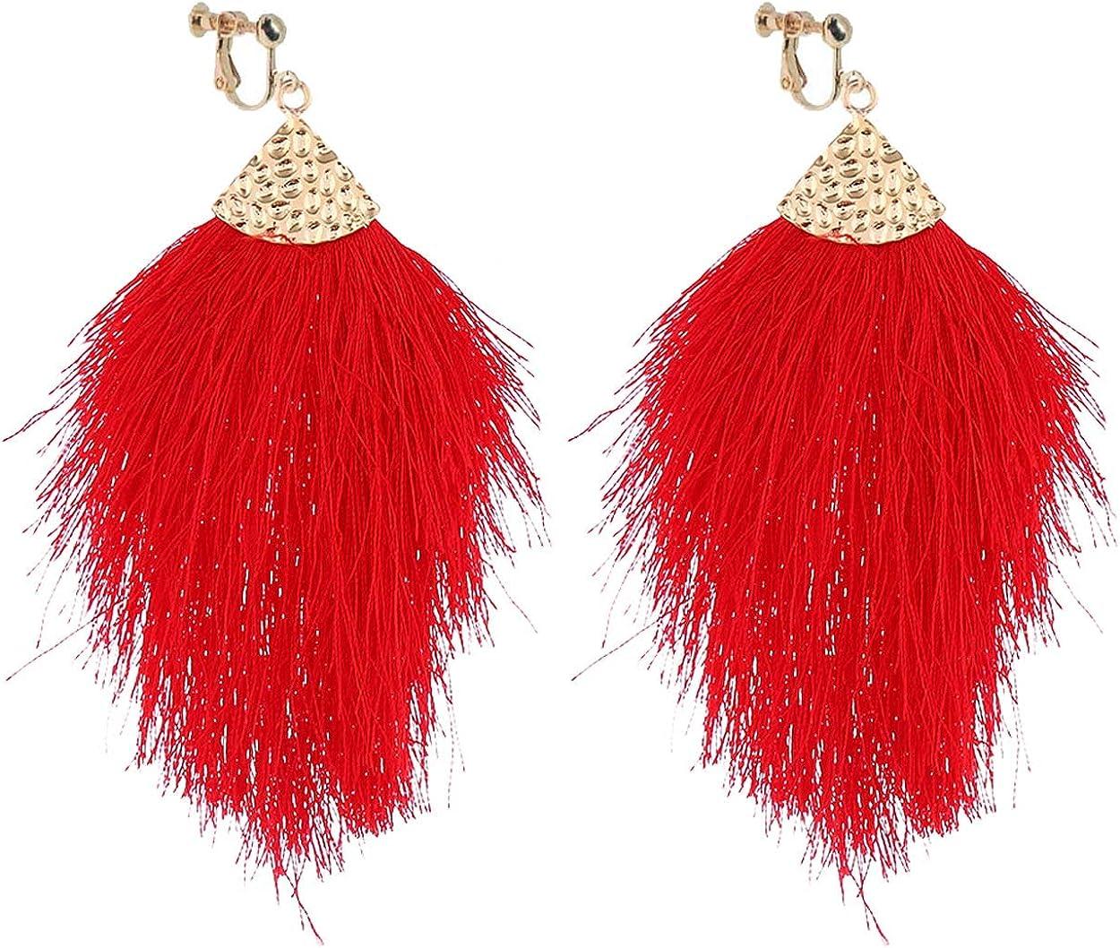 Bohemian Silky Tread Fringe Clip on Earrings Fan Teardrop Dangle Hoops Drop Long Tassel Leaf Non Pierced Ears for Girls Women Party Birthday Gifts