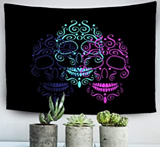 ROOLAYS Home Art Decor Wall Hanging Tapestry Skulls Day The Dead Halloween Neon Color with 80x60 Inches for Living Room Dorm Background Tapestries,Beige White