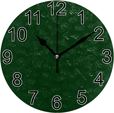 JERECY Wall Clock Olive Green Silent Non Ticking Acrylic 10 Inch Home Decorative Office School Round Clock Art