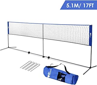 amzdeal Badminton Net 17ft/5.1m Kids Volleyball Net Portable Net for Badminton, Tennis, Pickleball, for Indoor/Outdoor Court, Backyard, with Steel Frame, Hooks, Adjustable Height (No Rackets)