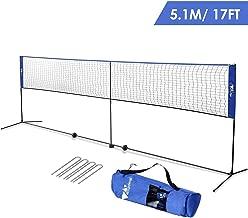 amzdeal Badminton Net 17ft/5.1m Kids Volleyball Net Portable Net for Badminton, Tennis, Pickleball, for Indoor/Outdoor Court, Backyard, with Steel Frame, Hooks, Adjustable Height (No Rackets)