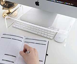 Vellenty Products Clear Acrylic Monitor Stand - Monitor Riser for iMac, Desktop, Laptop, Printer, TV, Games - PC Desk Stan...