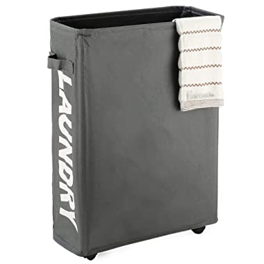 Caroeas 22  Rolling Slim Laundry Basket with Stand Foldable Waterproof Sorter and Organizer on Wheels Tall Thin Dirty Laundry Hamper Basket Home Corner Bin (Slim 22 ,Grey)