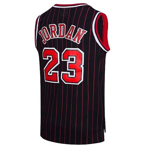 RAAVIN Legend Mens  23 Basketball Jersey Retro Athletics Jersey Red White  Black Strip S 3aea4156f
