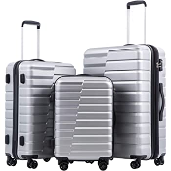 COOLIFE Luggage Expandable(only 28'') Suitcase PC ABS TSA Lock Spinner Carry on new fashion design(sliver, 3 piece set)