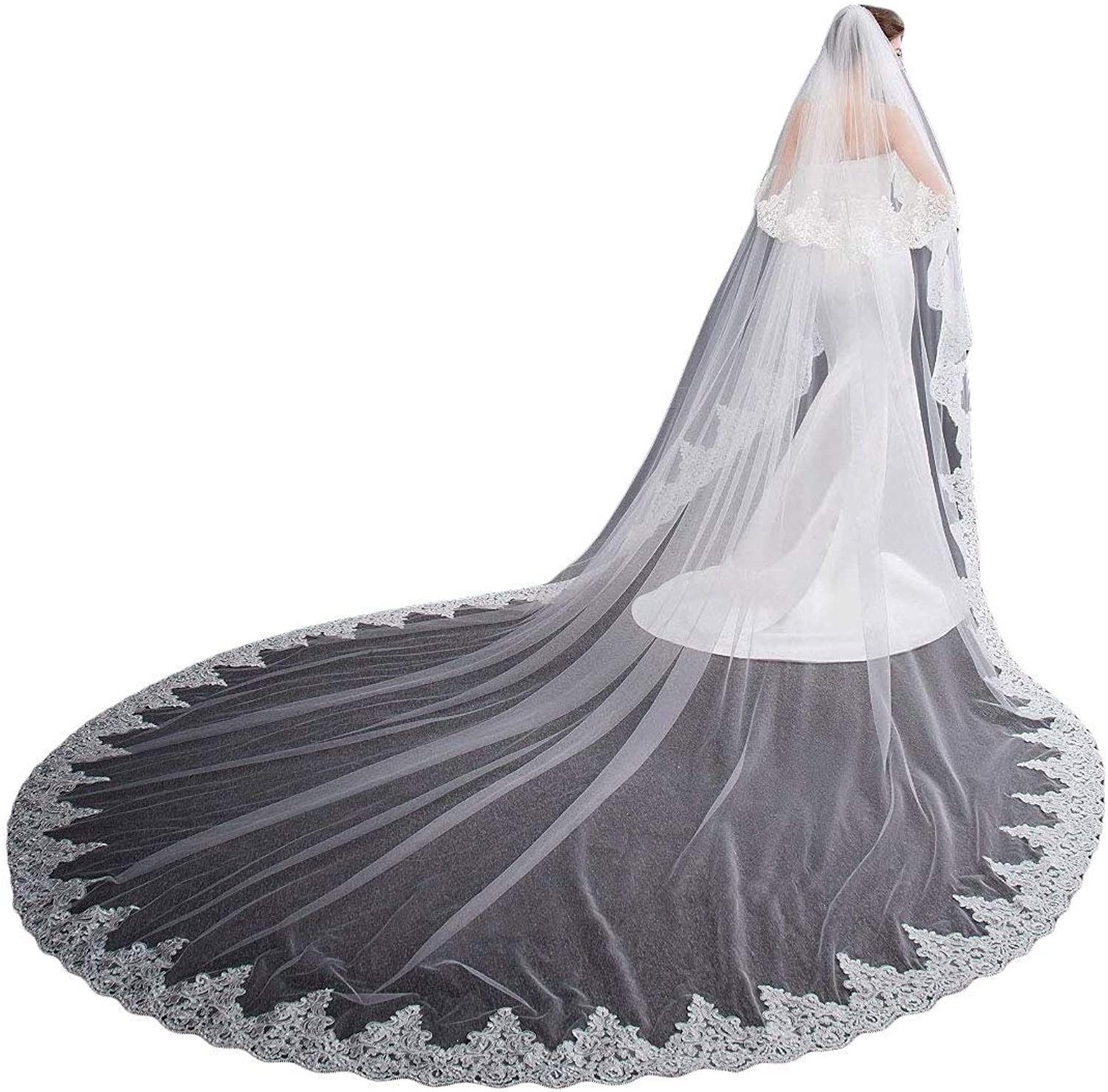 Fenghuavip 5M Long Cathedral Wedding Veil 1T Appliques Bridal Veils with Comb