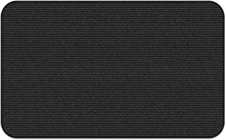 House, Home and More Indoor Outdoor Double-Ribbed Carpet Area Rug with Skid-Resistant Rubber Backing - Smokey Black - 2 Feet X 5 Feet