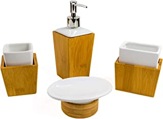 Bamboo Bathroom Accessories Set – Wood Bathroom Set Complete with Soap Dispenser, Toothbrush Holder, Soap Holder, Mug – Bamboo Wood Bathroom Modern Vanity Set