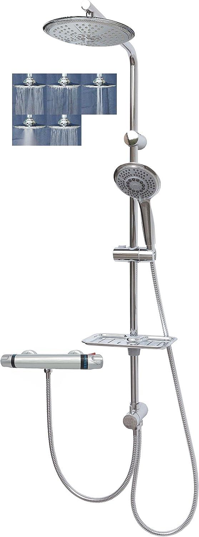Duschset Regendusche mit Thermostat Duschstange Kopfbrause überkopfbrause Duschsystem variabler Halter Duschgarnitur
