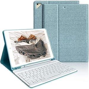 iPad Keyboard Case 9.7 for iPad 6th Generation(2018), iPad 5th Generation(2017), iPad Air 2, iPad Air, iPad Pro 9.7 inch Keyboard Case, Detachable Bluetooth Keyboard (Lake Blue)