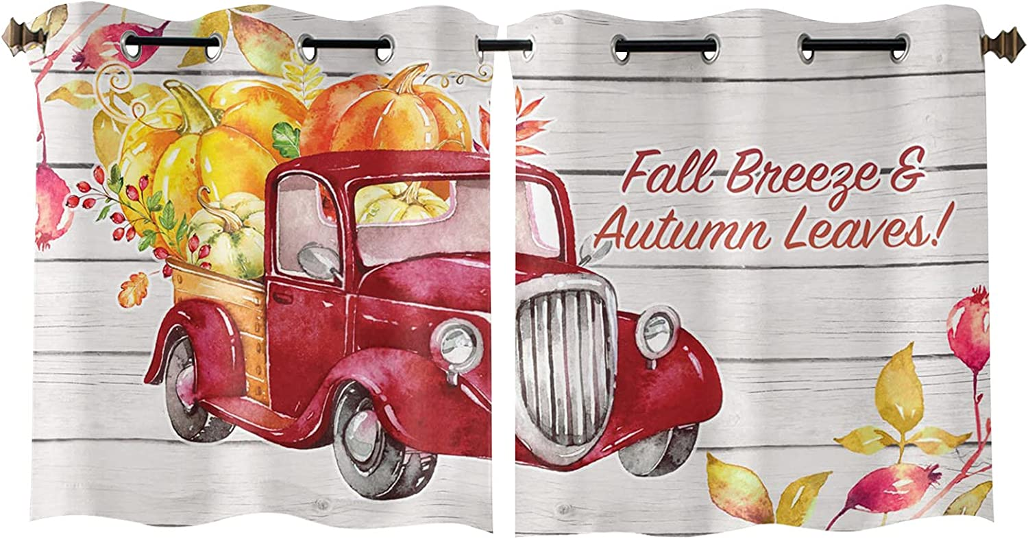 Window Curtain Pumpkin Red Farm Thanksgiving Sale SALE% Spring new work OFF Deco Home Truck Day