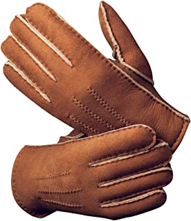 Men's Merino Rugged Lambskin Shearling Leather Gloves Three Points