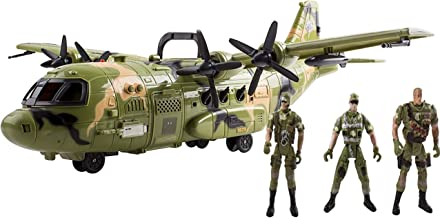 """Think N Thrill """"AIRFORCE MILITARY TOYS SET"""" for Kids – Giant F16 Fighter Jet Airplane Toy with Lights Sounds & Pretend Play Army Soldiers - Great Holiday Gift Idea for Boys Ages 3 + Years Old"""