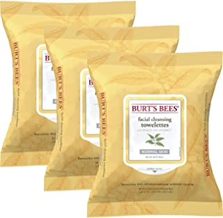 Burt's Bees Sensitive Facial Cleansing Towelettes with White Tea Extract - 30 Count (Pack of 3)
