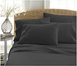 BECKY CAMERON ienjoy Home 6 Piece Double Brushed Microfiber Bed Sheet Set, Queen, Black
