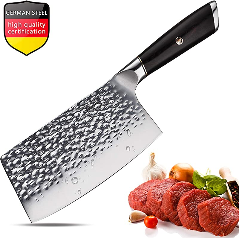 Meat Cleaver Chinese Chef Knife 11 2 Inch Vegetable Kitchen Knife German Stainless Steel Chopper Cleaver Butcher Knife For Home Kitchen Or Restaurant German Steel Kitchen Knife