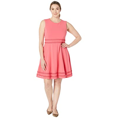Calvin Klein Fit and Flare Dress with Lace Detail at Waist Hem CD8C412C (Coral) Women