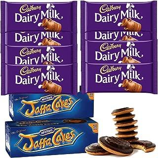 McVities Jaffa Cakes Two Boxes + Cadbury Dairy Milk Chocolate | Total 8 bars of British Chocolate Candy - Cadbury Dairy Milk Chocolate 45g each
