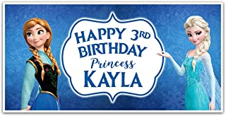 Frozen Elsa and Anna Princess Birthday Banner Personalized Party Backdrop Decoration