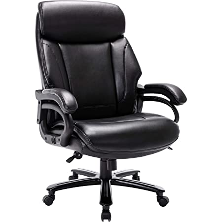 High Back Big & Tall 400lb Bonded Leather Office Chair Large Executive Desk Computer Swivel Chair - Heavy Duty Metal Base, Adjustable Tilt Tension, Ergonomic Design for Lumbar Support