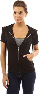 PattyBoutik Women's Hoodie Zip Up Short Sleeve Jacket