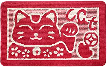 ESUPPORT Bath Mats Rug Retro Lucky Cat Entrance Mat Welcome Outdoor Indoor Non Slip Mats,L