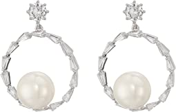 CZ & Pearl Frontal Hoop Earrings