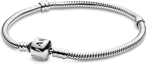 PANDORA Jewelry Iconic Moments Snake Chain Charm Sterling Silver Bracelet, 7.9