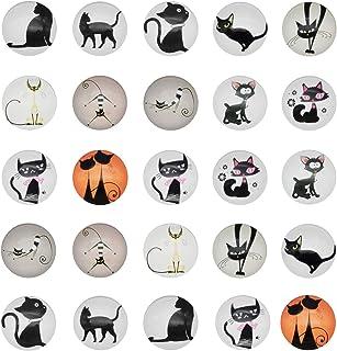 JJG 50 PCS Lovely Black Cats Glass Dome Cabochons Half Round Flatback, 10mm Diameter, Mix Colors