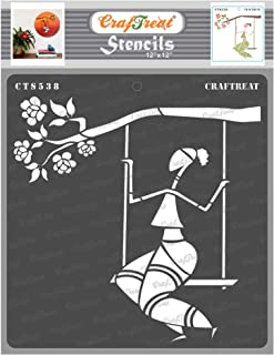 Craftreat Tribal Art Stencils for Craft - Sitting on a Swing - 12X12 Inches - Reusable DIY Stencils for Painting - Home De...