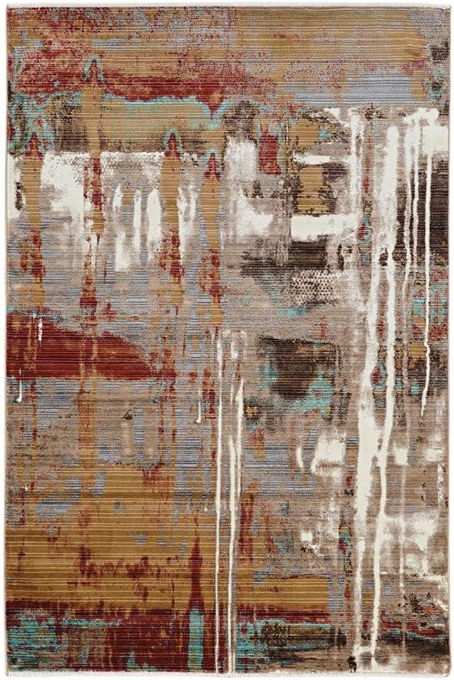 爆買いセール Linon Impact Autumn in Beige Area 5' x Rug Graphic 在庫限り 3' Abstract