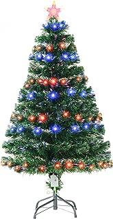 HOMCOM Pre-Lit Douglas Fir Artificial Christmas Tree with Fiber Optic / LED Lights and 8 Pre-Programmed Settings, 4' Tall