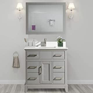 Vanity Art 36 Inch Single Sink Bathroom Vanity Set   Super White Phoenix Stone, Soft Closing Doors Undermount Rectangle Sinks with Free Mirror - VA1036-G