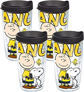 Tervis Peanuts - Colossal Tumbler with Wrap and Black Lid 16oz, Clear