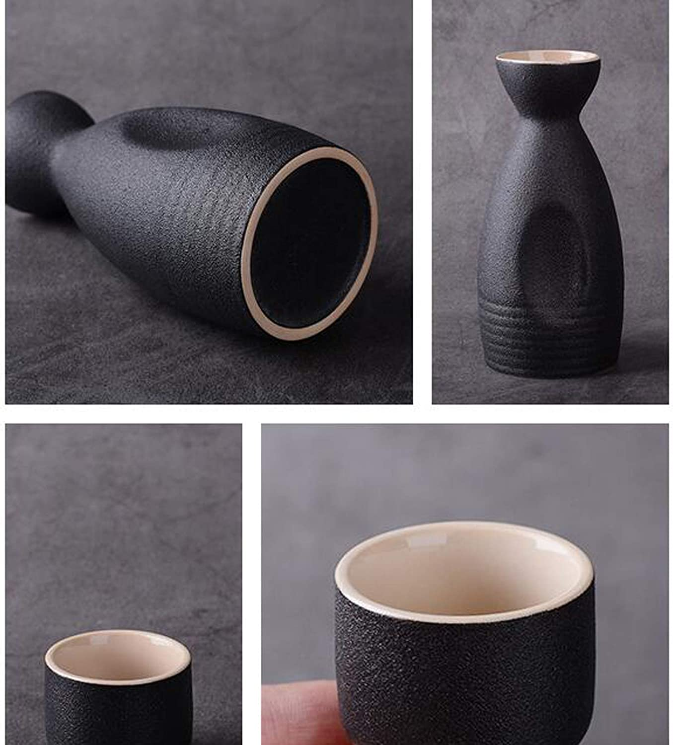 Uziqueif 9-piece Japanese sake set made of ceramic with 1 sake bottle and 4 cups,A