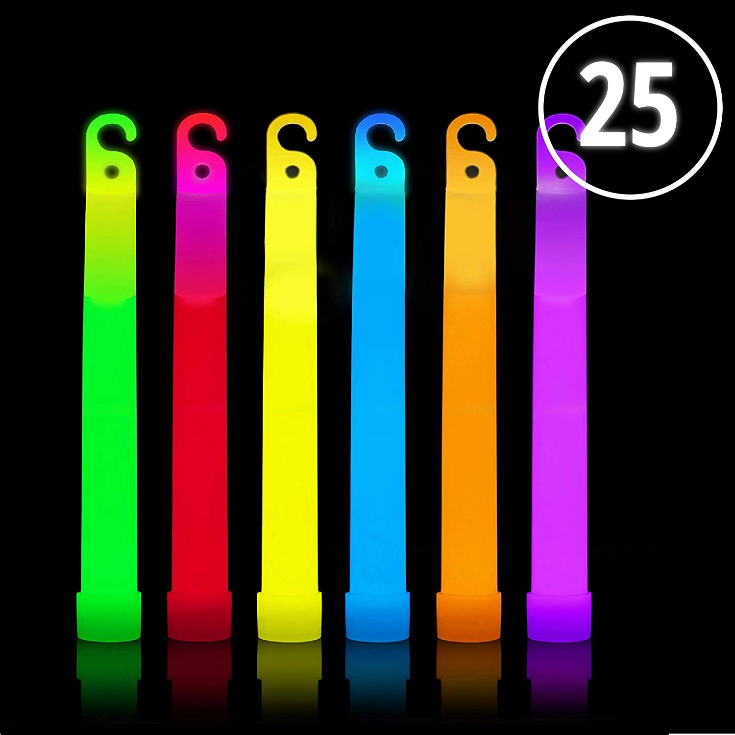 Glow Sticks Bulk 25 Count  Box of 6  Premium Glow In The Dark Light Sticks  Assorted colors