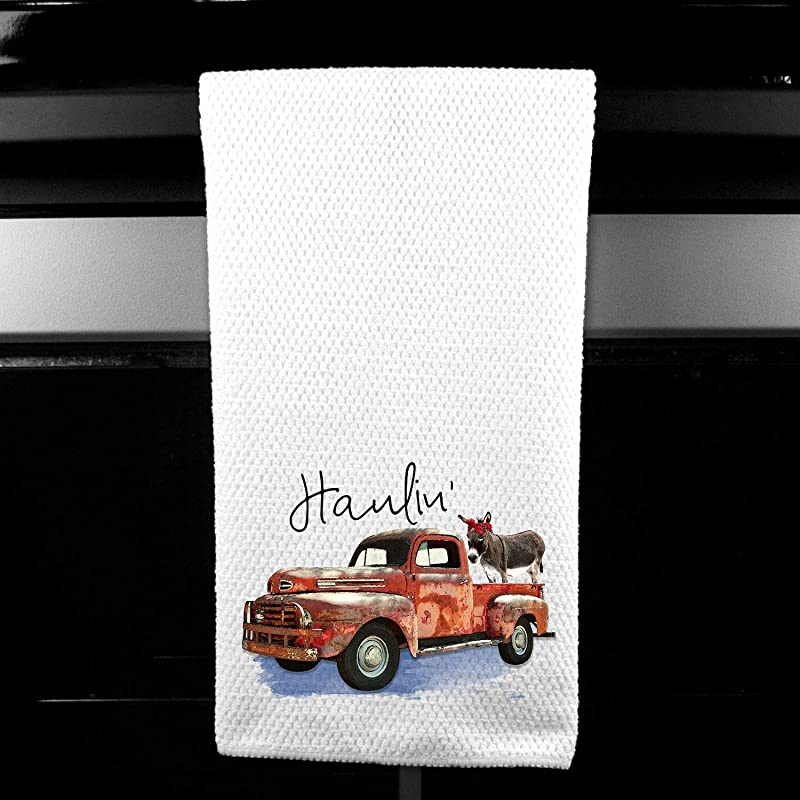 Haulin Ass Donkey Pickup Truck Rustic Farm Microfiber Kitchen Bar Towel Funny Gift For Women