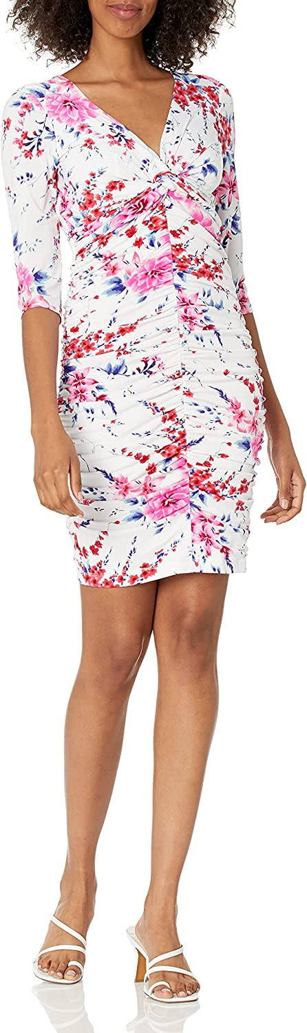 GUESS Women's Floral Print Ruched V Neck Dress