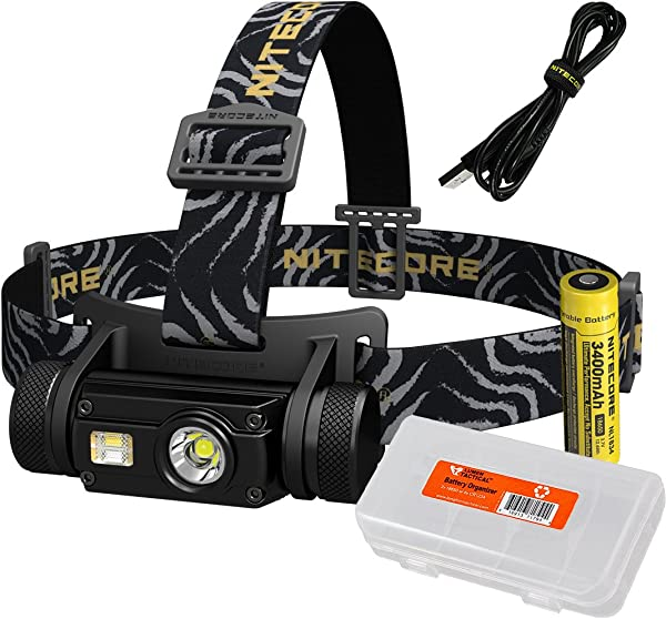 Nitecore HC65 1000 Lumen USB Rechargeable Headlamp With White Red High CRI Outputs And Lumen Tactical Battery Organizer