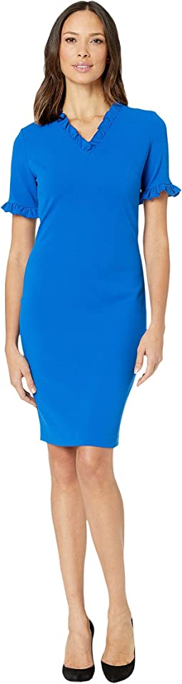 Short Sleeve Sheath Dress with Ruffle at Neck & Sleeves