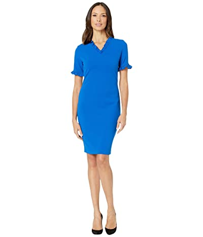 Calvin Klein Short Sleeve Sheath Dress with Ruffle at Neck Sleeves (Capri) Women