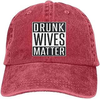 YINREN Drunk Wives Matter Novelty Unisex Washed Cap Adjustable Dad's Denim Stetson Hat Red Cap