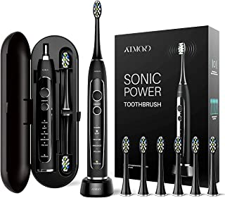 Travel Electric Toothbrush, ATMOKO by ELLESYE Sonic Rechargeable Toothbrush for Whiten Teeth with 40,000 VPM Motor 5 Modes 2 Smart Timers with Travel Case & 6 brush heads (Dentists recommend)