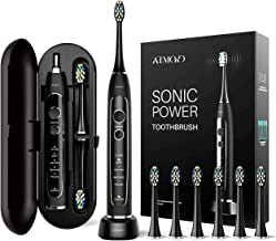 ATMOKO Electric Toothbrush, Sonic Power Whitening Toothbrush with 40,000 VPM Motor - 5 Modes - Wireless Charging - 6 Indicator Dupont Brush Heads with Travel Case