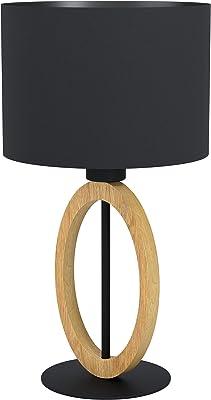 EGLO Lampe de chevet Basildon 1, lampe de table minimaliste, lampe de salon en bois naturel et tissu et métal noir, luminaire design avec interrupteur, douille E27